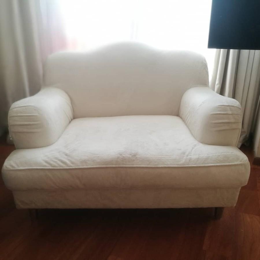 Sofa ir fotelis balti